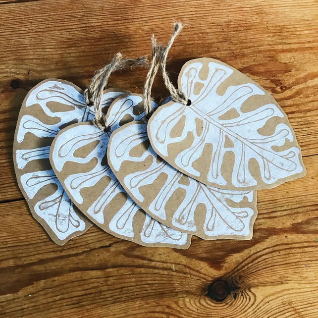 Hand Printed Monstera Leaf Gift Tags