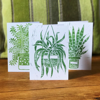 Hand Printed set of 3 House Plant Cards