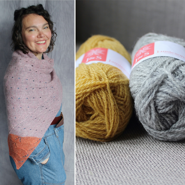 Loie Shawl Kit (Pale Grey & Mustard)