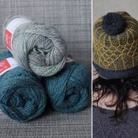Soft-Hearted Hat Kit (PaleTeal & Dark Teal)