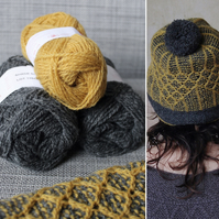 Soft-Hearted Hat Kit (Mustard & Dark Grey)