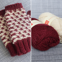Rose Thorn Mitts (Red & Cream)