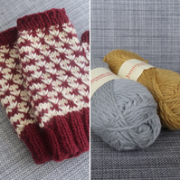 Rose Thorn Mitts (Grey & Mustard)