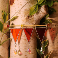 Stained Glass, Medieval Pennant, Triple Crystal, Suncatcher, Home Decoration