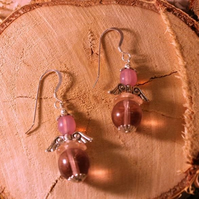 Pink Glass Bead Fairy Sterling Silver 3cm Drop Earrings FREE Gift Bag