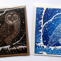 Snowy Owl square greetings card