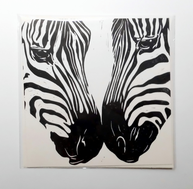 'Zebras' Square, hand printed greetings card