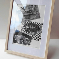 'Life of Pie' - framed, hand printed linocut print.