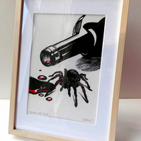 'Spider with Rosé' - framed, hand printed, linocut.