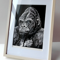 'The Beauty of the Beast' - framed hand printed linocut