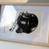 'Antelopes' - Framed, original, hand printed linocut.