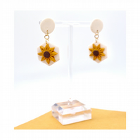 Sunflower Hexagon Stud Drop Polymer Clay Earrings