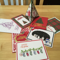 Eight handmade Christmas Card selection