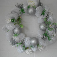 Silver deco mesh Christmas wreath with silver & white roses