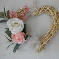 Pink white heart shaped willow wreath