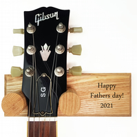 Solid Ash, handcrafted guitar hanger with custom engraved message. FREE P&P!