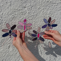 Stained glass purple and pink agate suncatcher hanging decoration.