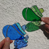 Stained glass blue or green tugboats suncatcher hanging decoration.
