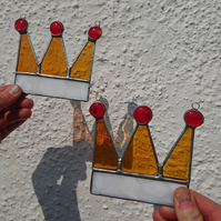 Stained glass crowns. Copperfoil suncatcher.