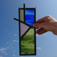 Stained glass leaded panel - abstract landscape, meadow, mountain, sun, sky
