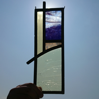 Stained glass leaded panel - abstract landscape, beach, cloud, sun, sky