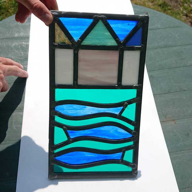 Stained glass leaded panel - three fishes and beach huts