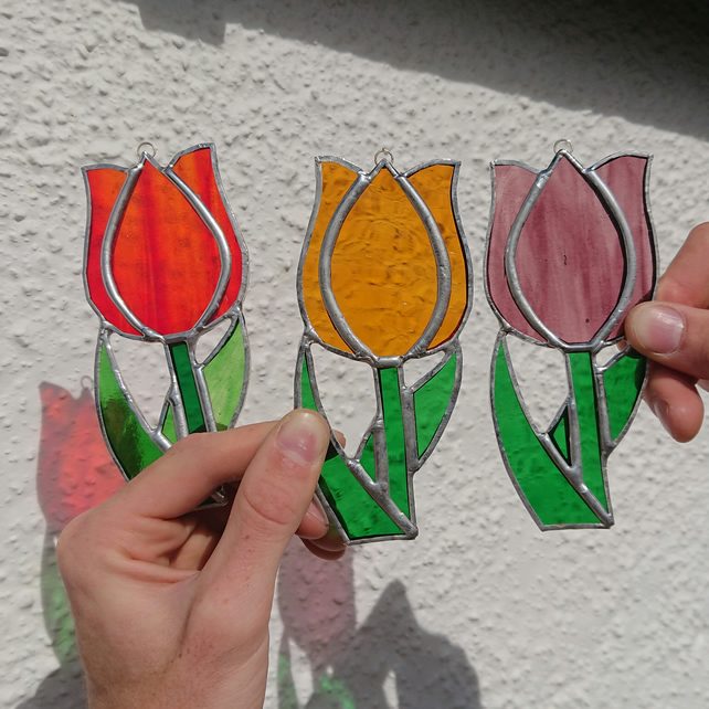 Stained glass tulip suncatcher hanging decoration.