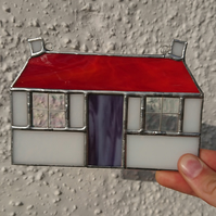 Stained glass traditional cottage, copperfoil, door