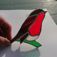 Stained glass garden red robin. Suncatcher hanging decoration.