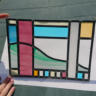 Stained glass leaded panel - abstract landscape.