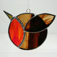 Stained glass stylised iridescent red robin. Suncatcher hanging decoration.