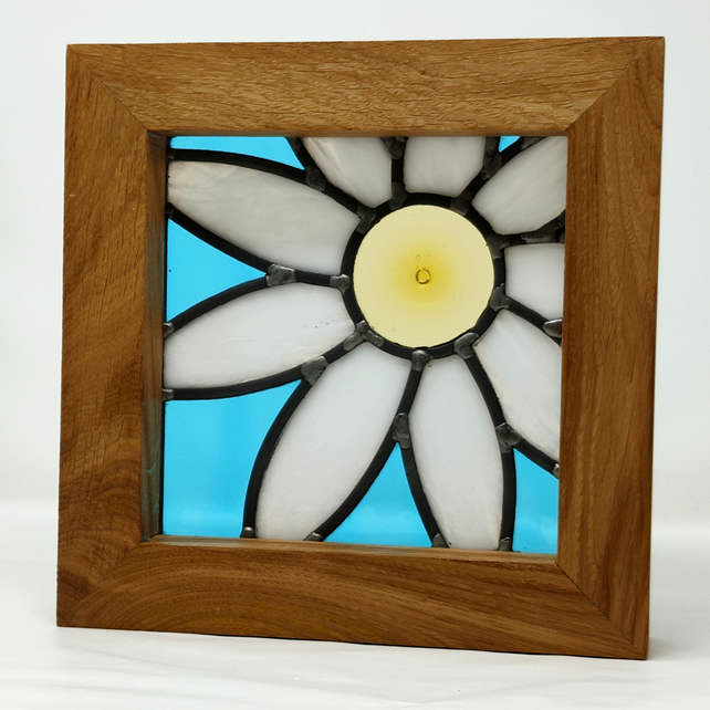 Framed leaded stained glass white daisy flower panel.