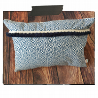 Indigo Aztec diamond cotton cushion cover with fringing