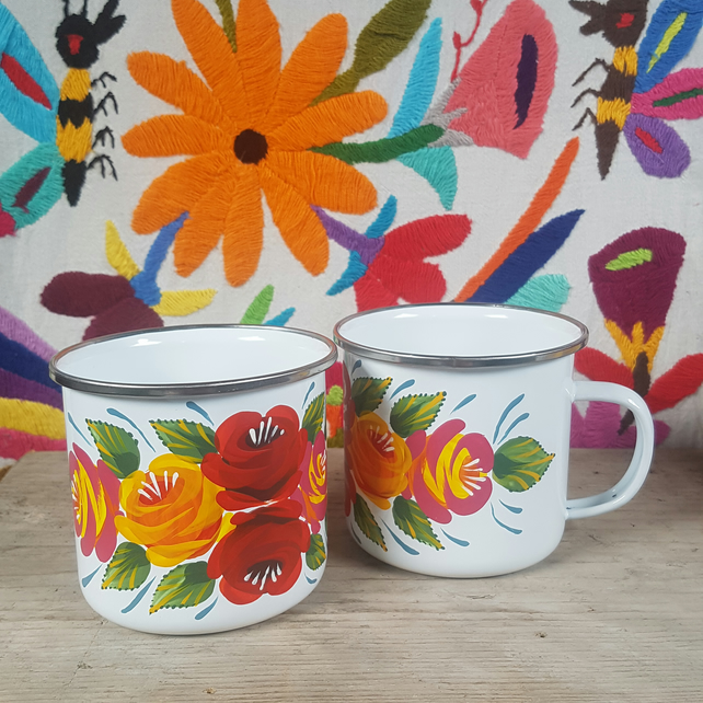 White hand-painted folk art mug with rose design