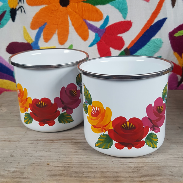 Hand-painted folk art enamel mug with red, yellow and pink roses