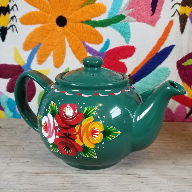 2 cup green, hand-painted, ceramic teapot