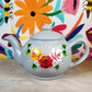 Hand-painted folk art ceramic teapot