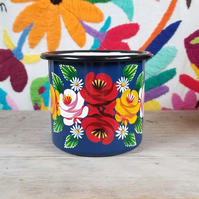 Blue hand-painted enamel mug