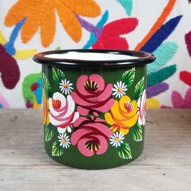 Green hand-painted folk art enamel mug with pink roses