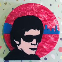 Marbled Lou Reed in New York statement acrylic brooch.