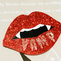 Glittered Vampire pin Vamp
