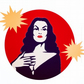 Pre-order Vampira Halloween statement brooch with Vamp glitter acrylic brooch