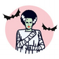 Pre-order Bride of Frankenstein  brooch w Vamp glitter brooch