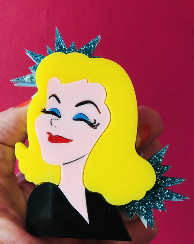 Samantha Bewitched statement acrylic brooch.