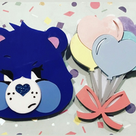 Birthday bundle  Grumpy Bear and Care Bear balloons acrylic brooch set.