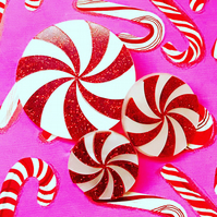 Red glitter and white marble peppermint swirls set