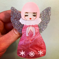 Marble glittered kitsch vintage Christmas angel