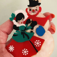 Frosty the snowman and his sweet friend acrylic brooch