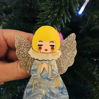 OOAK. Marble glittered kitsch vintage Christmas angel