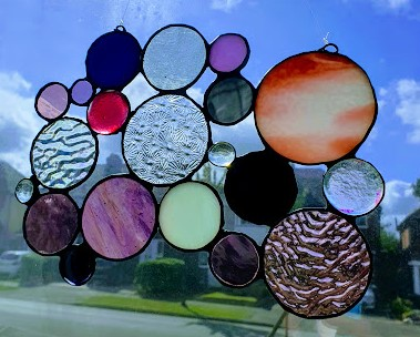 Abstract Bubbles Stained Glass Suncatcher :Pinks & Purple